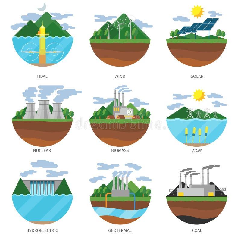 Utvecklingsenergityper Kraftverksymbolsvektor stock illustrationer