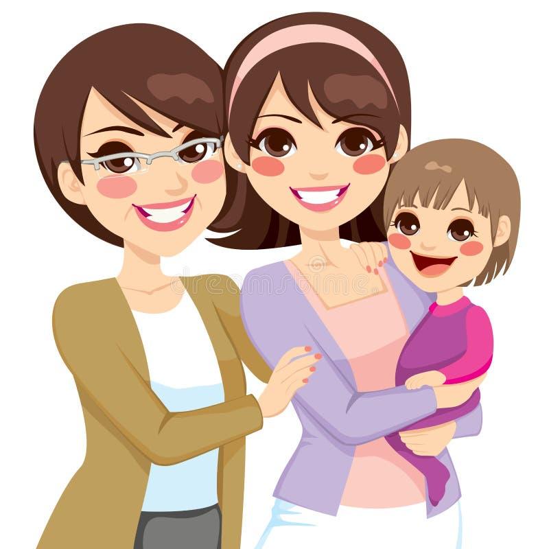 Utvecklingsfamilj för barn tre stock illustrationer
