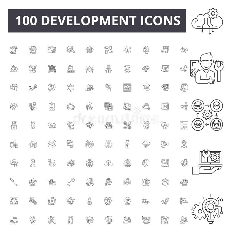 Utvecklingslinje symboler, tecken, vektorupps?ttning, ?versiktsillustrationbegrepp stock illustrationer