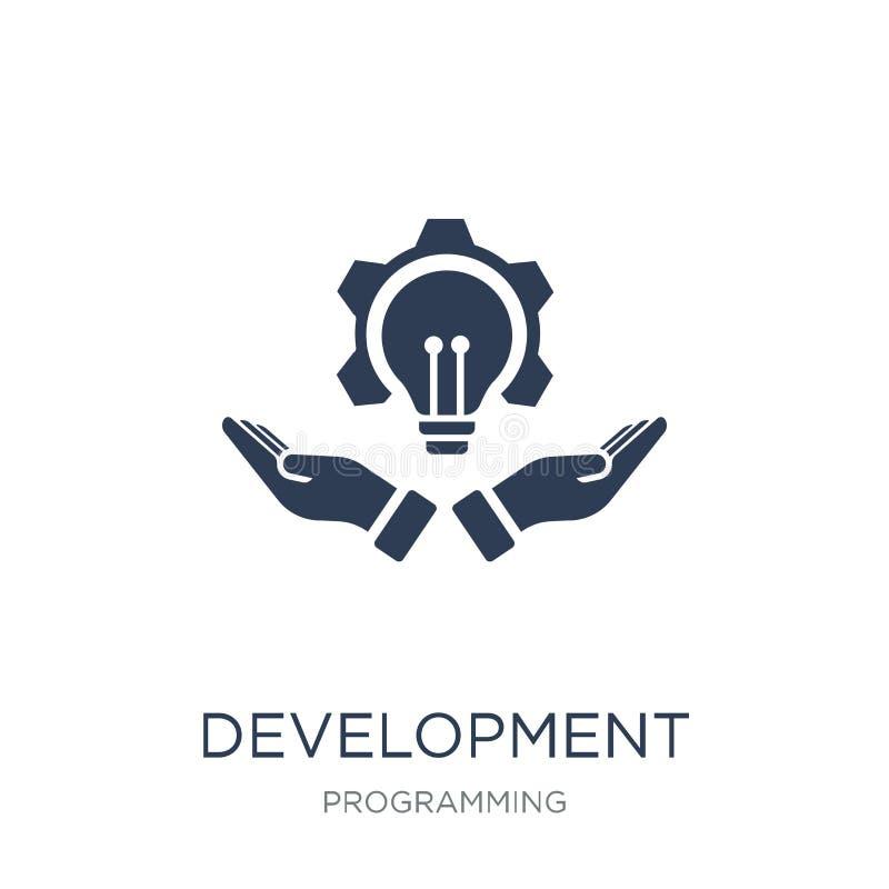 Utvecklingssymbol Moderiktig plan vektorutvecklingssymbol på vitt b royaltyfri illustrationer