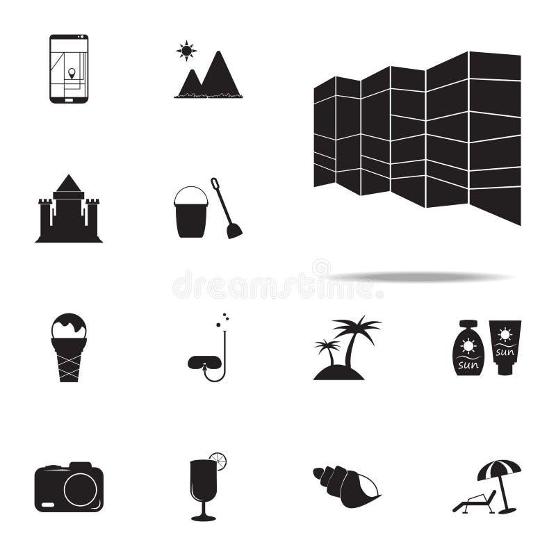 utvidgad översiktssymbol universell uppsättning för sommarnöjesymboler för rengöringsduk och mobil stock illustrationer