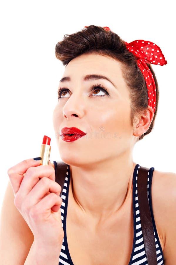 Utvikningsbildkvinna med läppstift royaltyfri fotografi