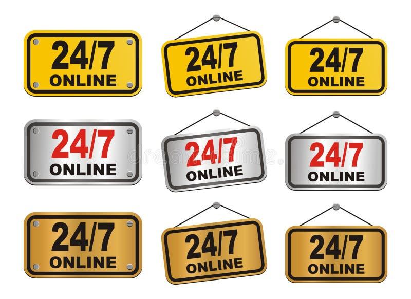 uur 24 7 dag online teken stock illustratie