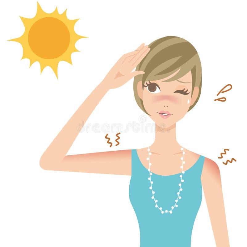 UV απεικόνιση ηλιακού εγκαύματος για τις γυναίκες διανυσματική απεικόνιση