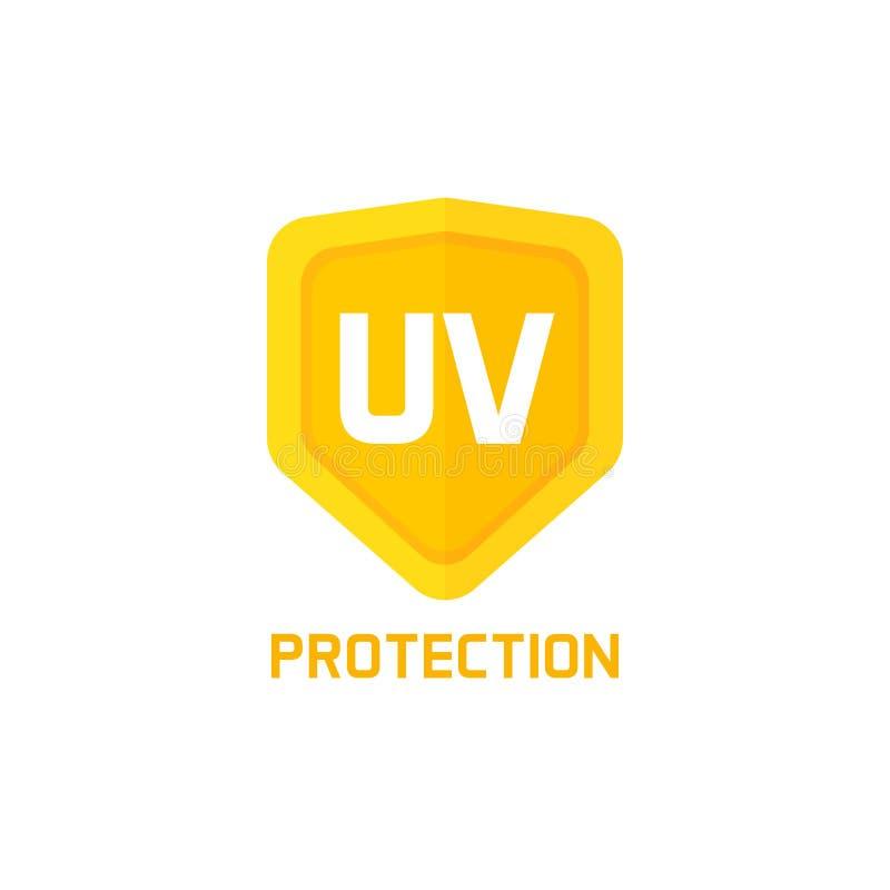 UV διανυσματικό σημάδι εικονιδίων ασπίδων προστασίας που απομονώνεται στο λευκό, ιδέα της ετικέτας λογότυπων ελεύθερη απεικόνιση δικαιώματος