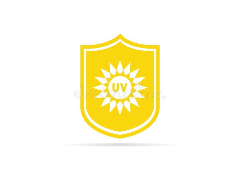 UV εικονίδιο προστασίας, αντι υπεριώδης ακτινοβολία με τον ήλιο και σύμβολο λογότυπων ασπίδων επίσης corel σύρετε το διάνυσμα απε απεικόνιση αποθεμάτων