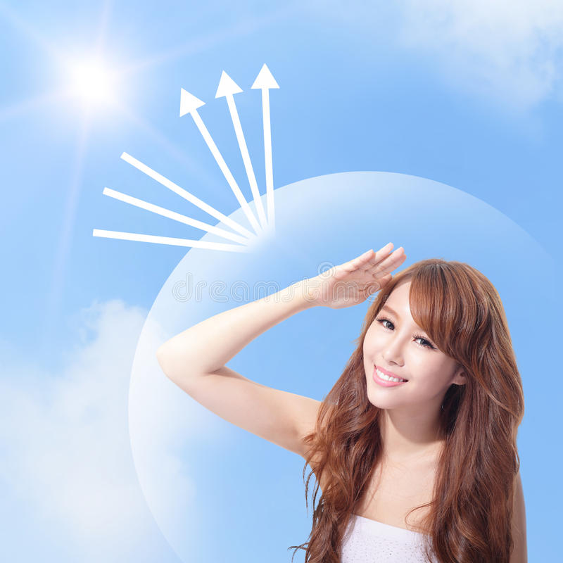 UV πρόσωπο προσοχής και γυναικών με την ηλιοφάνεια στοκ φωτογραφία με δικαίωμα ελεύθερης χρήσης