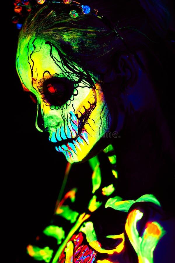 Free UV Body Art Painting Of Helloween Female Skeleton Stock Photo - 129897870