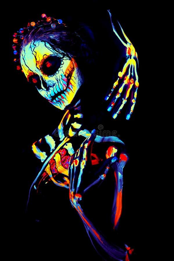 Free UV Body Art Painting Of Helloween Female Skeleton Stock Image - 129897931