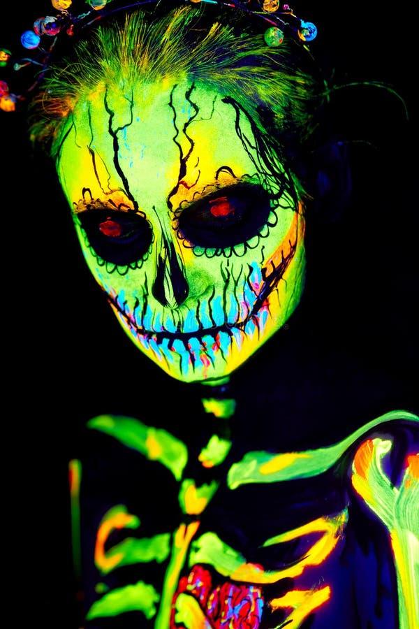 Free UV Body Art Painting Of Helloween Female Skeleton Royalty Free Stock Photos - 129897978