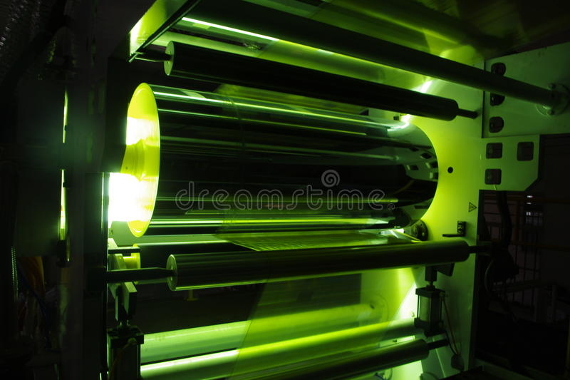 UV Coating Plastic Film. Machine stock photo