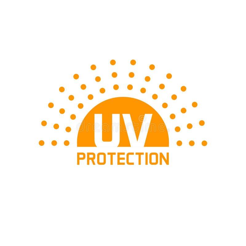 Uv den isolerade skyddssymbolsvektorn, anti-solen skyddar etiketten vektor illustrationer