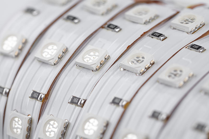 UV diode strip closeup. SMD LEDs in details stock images