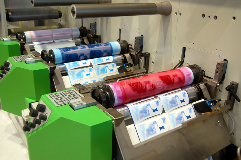 UV flexo press stock photography