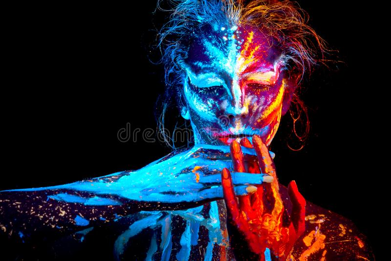 UV Halloween Body Art Mix Ice An Fire Hot Cold Stock Photo - Image of  glowing, neon: 160730184