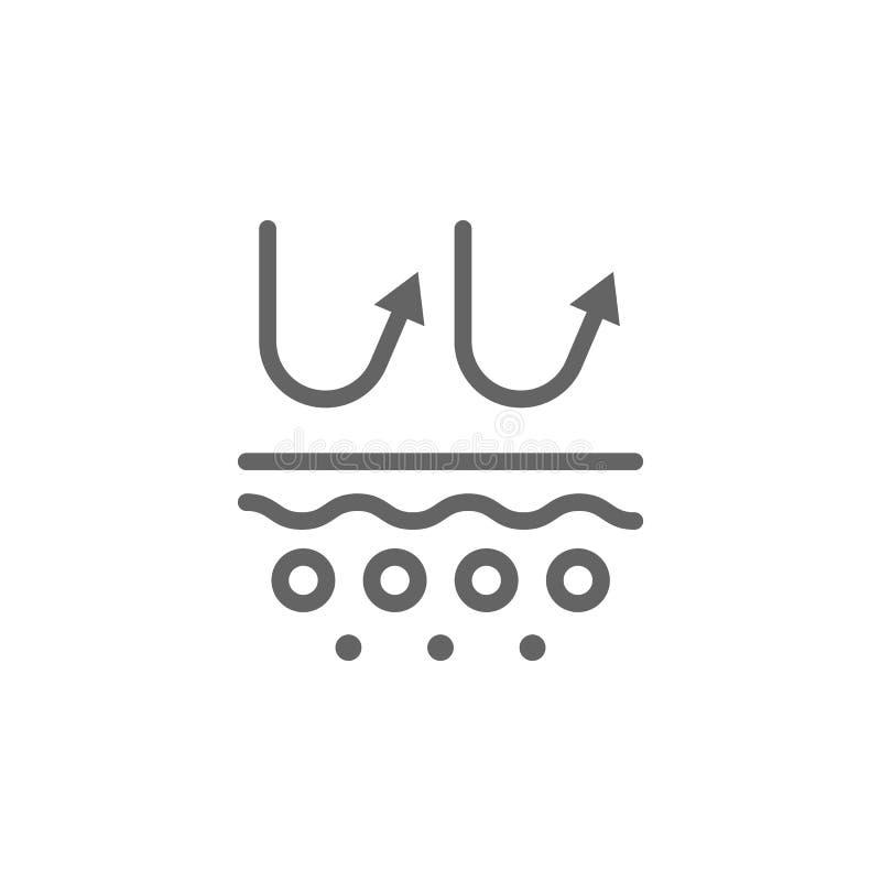 UV, huid, laagpictogram Element van het pictogram van de huidzorg Dun lijnpictogram voor websiteontwerp en ontwikkeling, app ontw vector illustratie