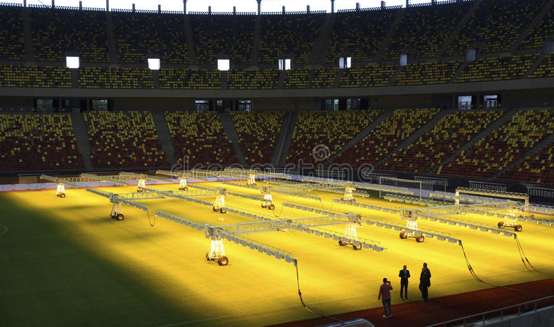 UV lamps system. Because of the many problems with the pitch on the Romanias National Arena has had since inauguration in 2011, officials in Bucharest have royalty free stock photos