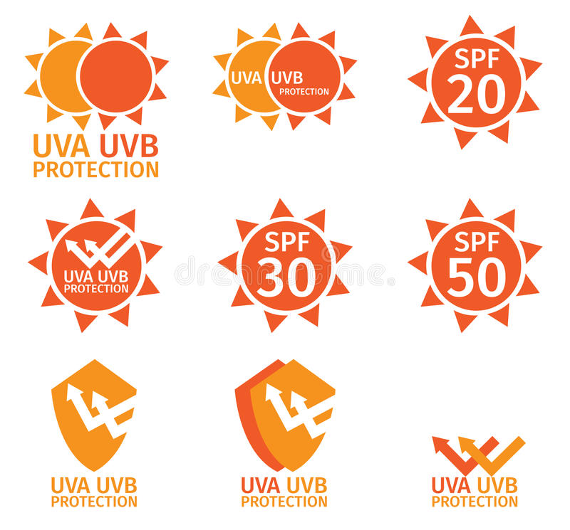 Free UV LOGO , Uva Uvb And Spf With Orange Color Royalty Free Stock Photography - 69499237