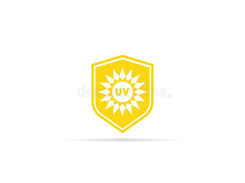 UV protection icon, anti ultraviolet radiation with sun and shield logo symbol. vector illustration.  vector illustration