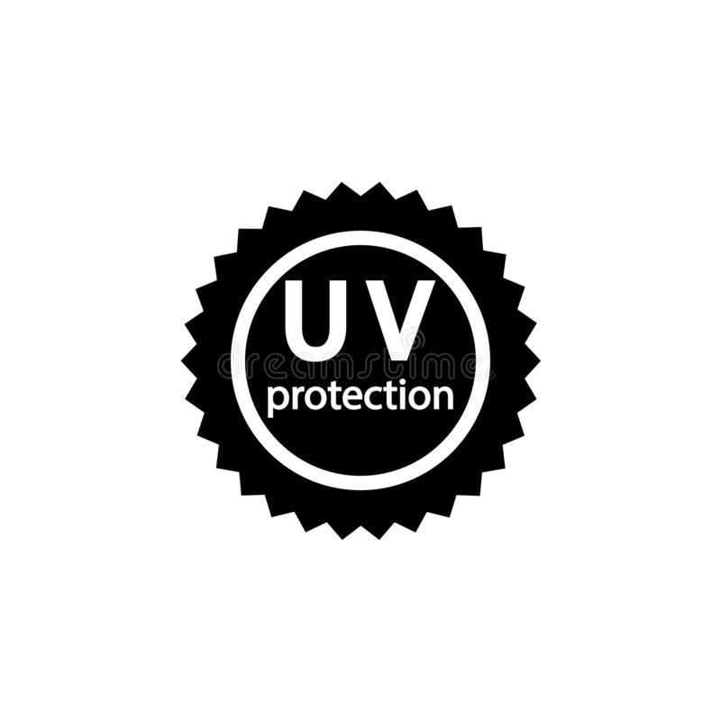 UV protection sign. The inscription UV protection in the sun sign. Eps ten stock illustration