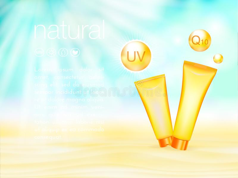 UV protection. Sunblock ads template, sunscreen and sunbath cosmetic products design. 3d vector illustration. Sunny. Beach background. moisturizer cream package royalty free illustration