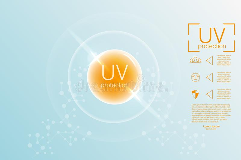UV protection. Ultraviolet sunblock. The scheme of protection from ultraviolet. The secret of a beautiful sunburn.Vector. UV protection. Ultraviolet sunblock vector illustration