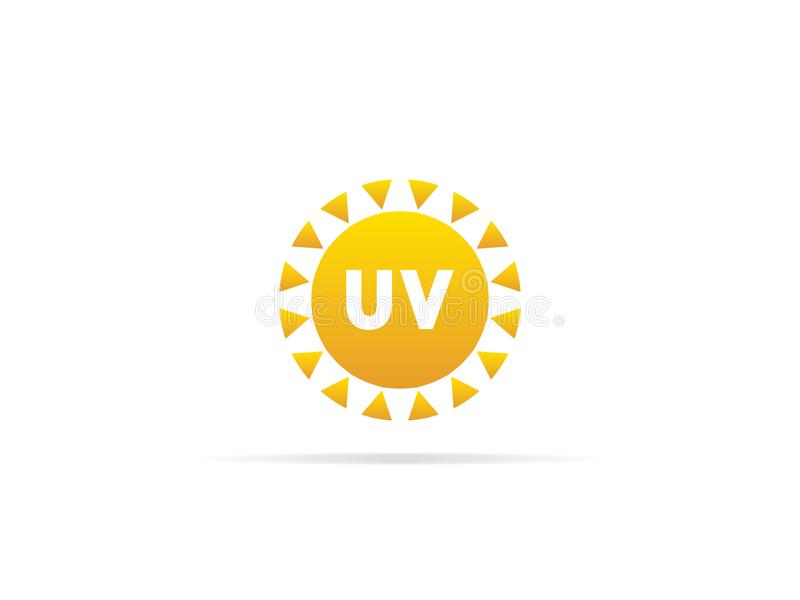 UV radiation icon, ultraviolet with sun logo symbol. vector illustration royalty free illustration