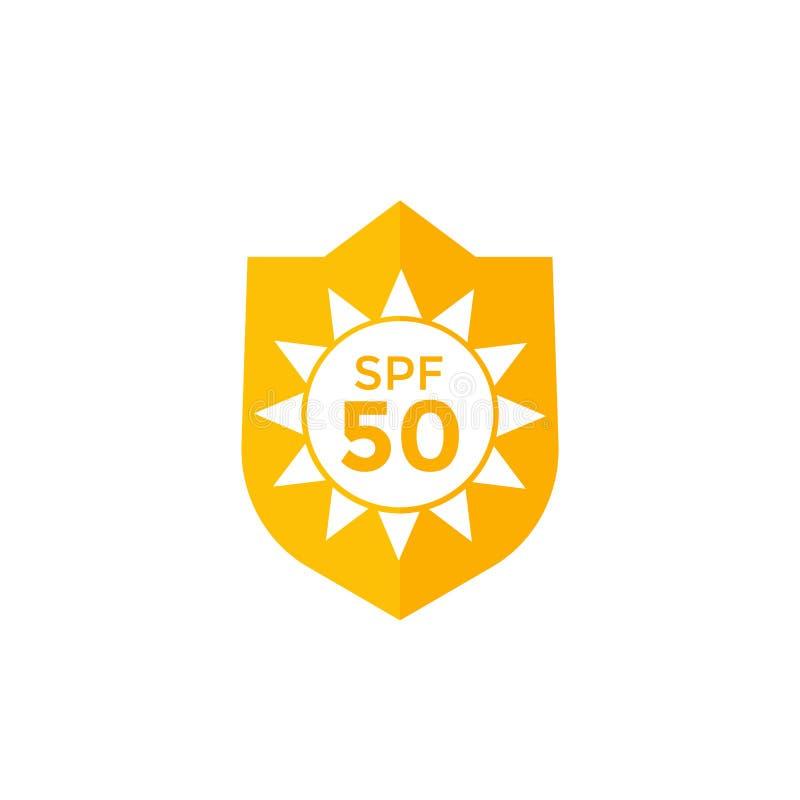 UV symbol för solskyddsSPF 50 på vit stock illustrationer