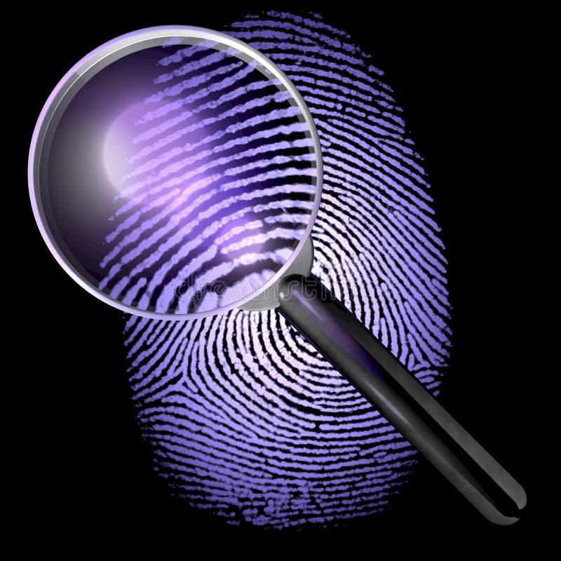 UV tänt fingeravtryck under ett förstoringsglas royaltyfri illustrationer