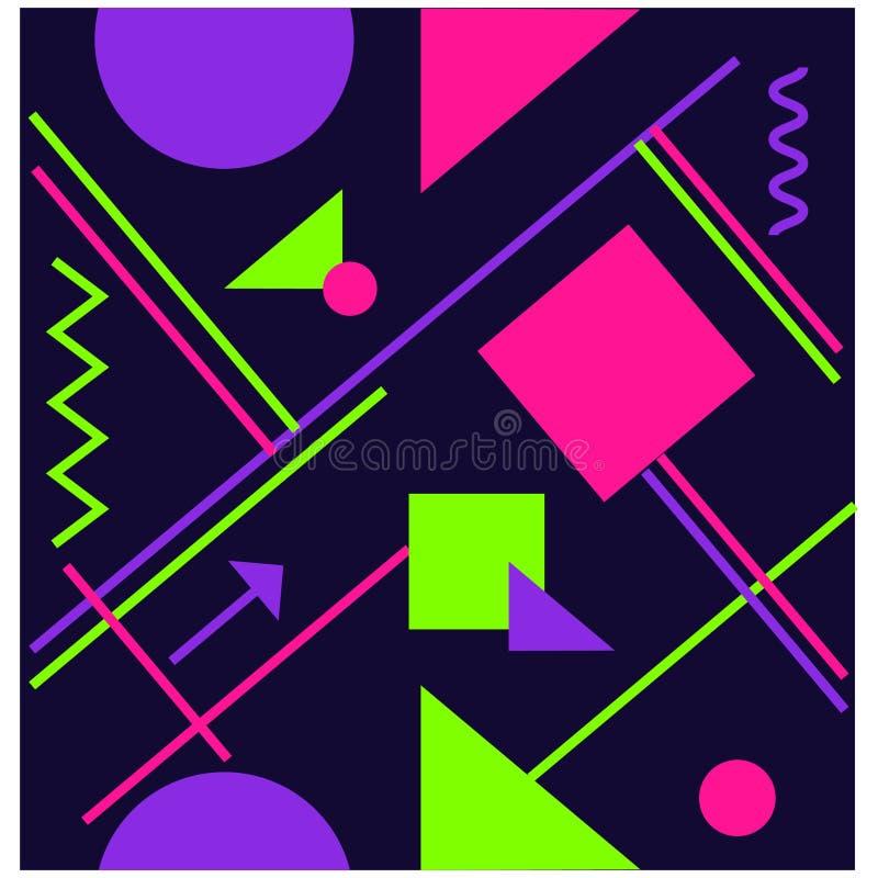 UV, ultra violet luminous neon light effect pattern. stock illustration