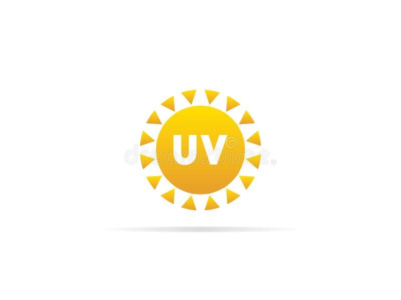 UV utstrålningssymbol som är ultraviolett med sollogosymbol också vektor för coreldrawillustration royaltyfri illustrationer