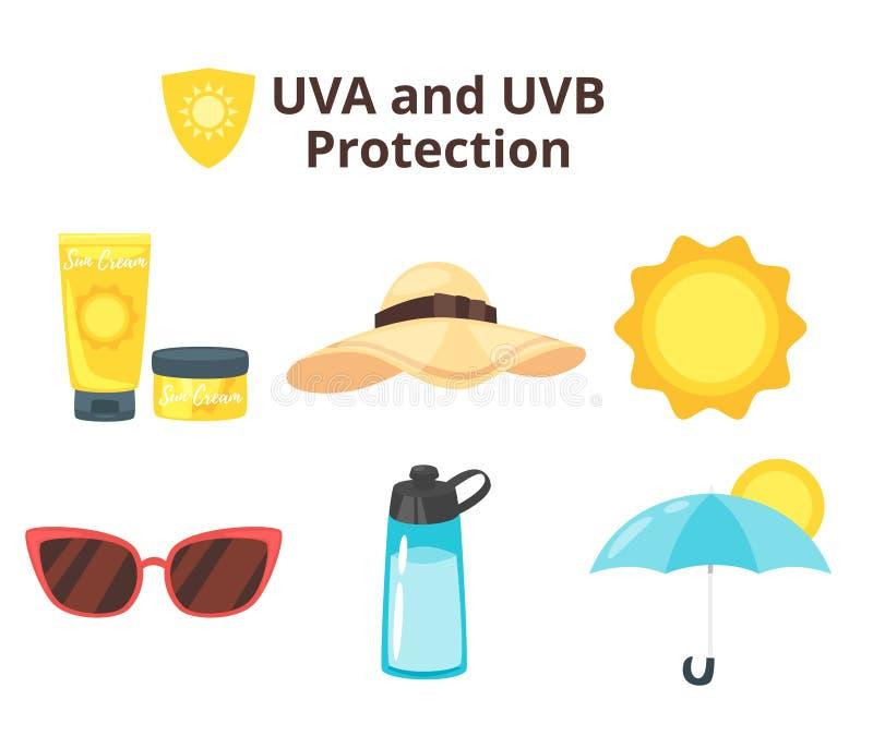 Uva和uvb保护概念 皇族释放例证