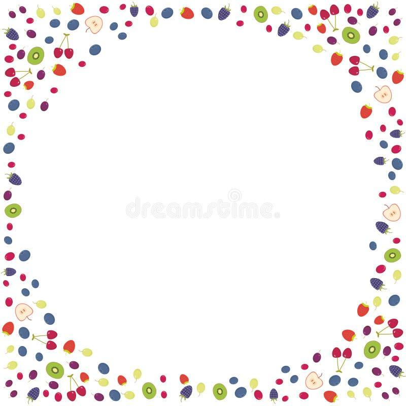 Uva da airela do arando de Cherry Strawberry Raspberry Blackberry Blueberry isolada no fundo branco Quadro redondo para seu texto ilustração stock