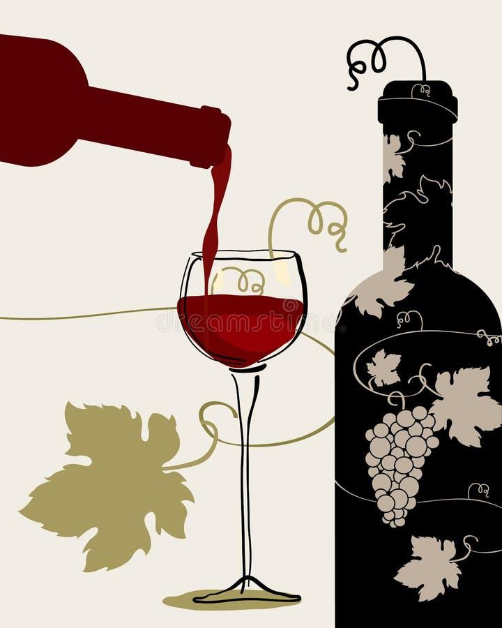 Uva di vetro di vino della bottiglia illustrazione di stock
