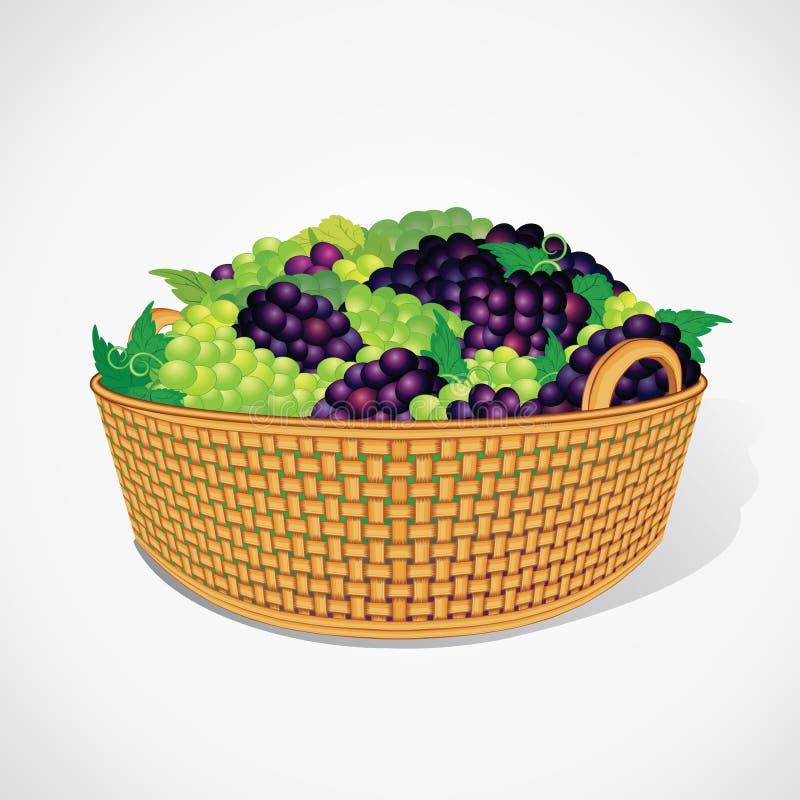 Uva dolce matura in canestro tessuto Vettore illustrazione di stock