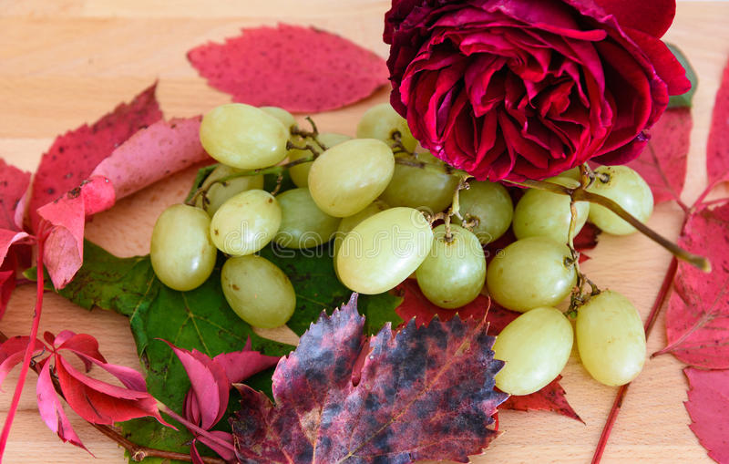 Uva ed altri frutti stagionali sui precedenti di legno immagini stock