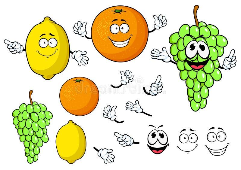 Uva felice del fumetto, limone e frutti arancio illustrazione di stock