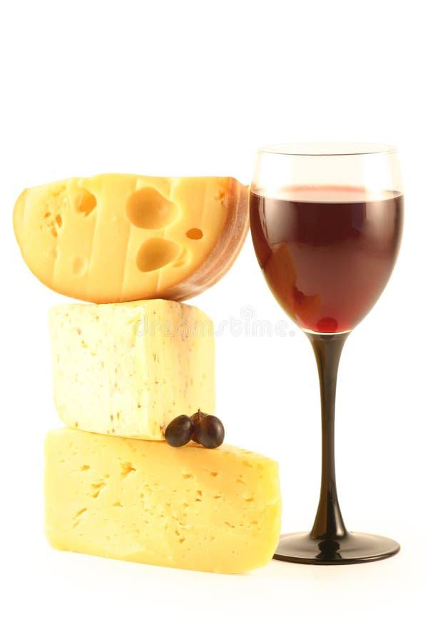 Uva, formaggio e un vetro fotografie stock libere da diritti