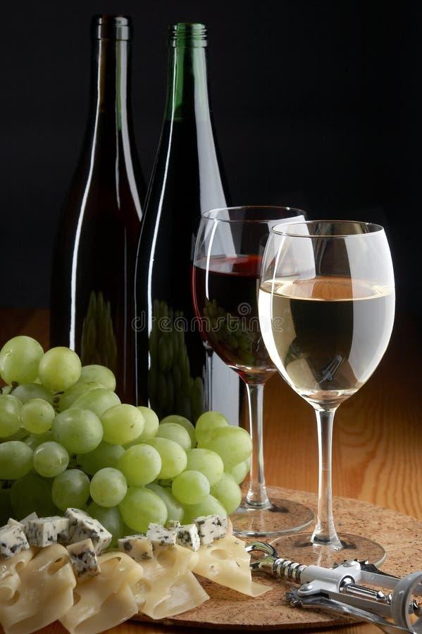 Uva, formaggio e vino fotografia stock