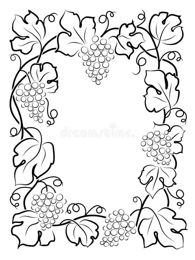Uva nera della vite dell'etichetta del vino della struttura di calligrafia illustrazione vettoriale