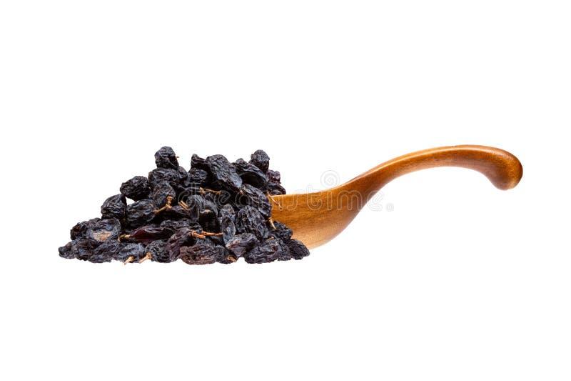 Uva passa nera nel cucchiaio di legno, isolato su fondo bianco fotografia stock libera da diritti