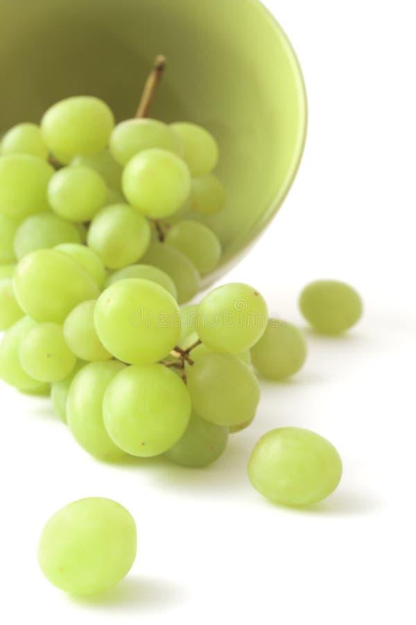 Uva verde em um fundo branco fotografia de stock royalty free