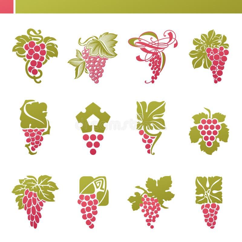 Uva vermelha com folha. Jogo do molde do logotipo do vetor. ilustração royalty free