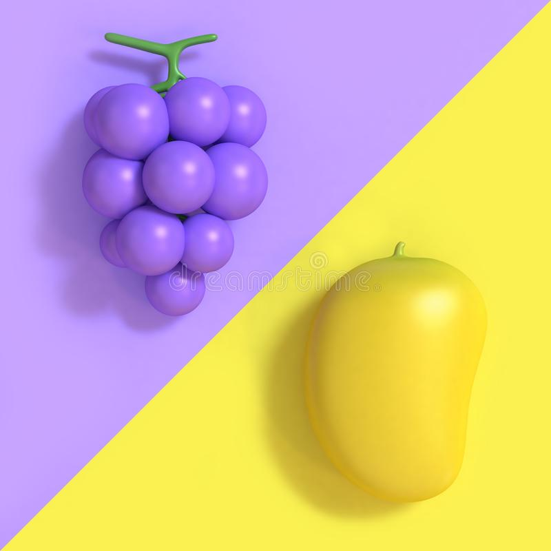 uva Viola-porpora e un fondo minimo 3d di due toni del mango di stile giallo del fumetto rendere illustrazione vettoriale