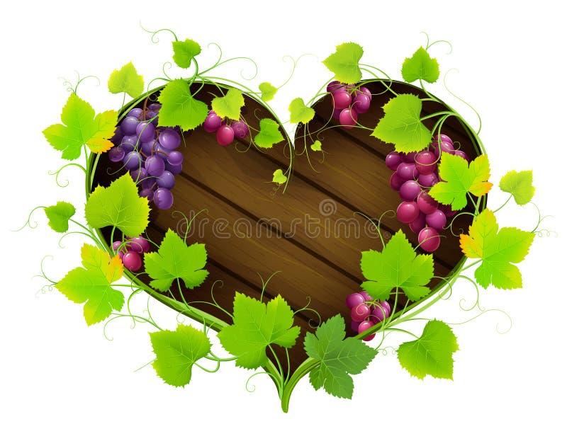 Uvas con las hojas bajo la forma de corazón stock de ilustración
