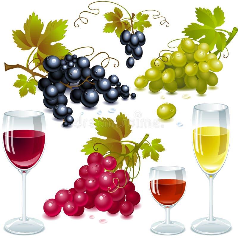 Uvas con las hojas. vidrio de vino con el vino. stock de ilustración