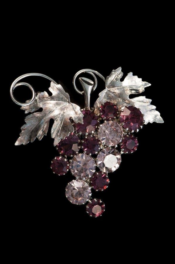 Uvas de la vendimia y broche amethyst de la vid imagen de archivo libre de regalías