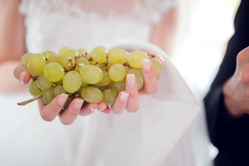 Uvas de Rripe nas mãos da noiva imagem de stock royalty free