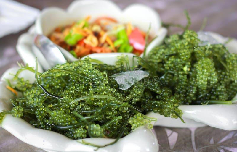 Uvas del mar con el aliño de ensaladas picante del estilo tailandés imágenes de archivo libres de regalías