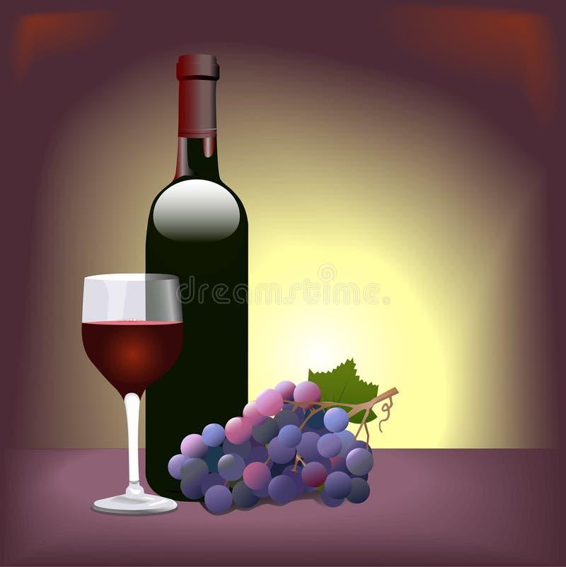 Uvas del vidrio de vino rojo ilustración del vector